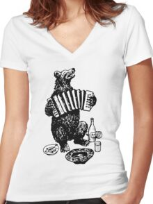 Misha the accordion player Women's Fitted V-Neck T-Shirt