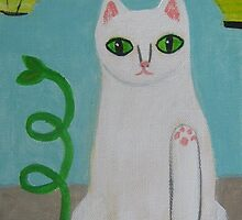 Waving Cat by sharonkfolkart