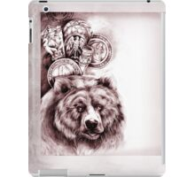 Vintage graphic bear in pencil art style iPad Case/Skin