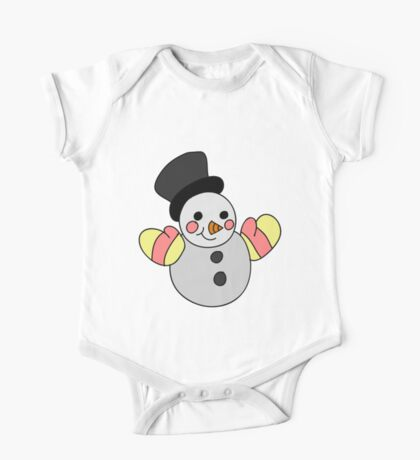 Cute Snowman One Piece - Short Sleeve