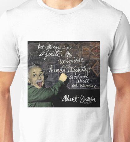 Albert Einstein on Chalkboard Unisex T-Shirt