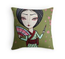 Geisha Samurai Throw Pillow