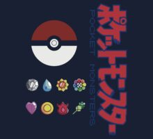 Pokeball and Badges Kanto version with Logo One Piece - Short Sleeve