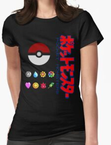 Pokeball and Badges Kanto version with Logo Womens Fitted T-Shirt