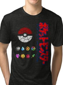 Cracked Pokeball and Badges Kanto version with Logo Tri-blend T-Shirt
