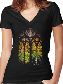 Banksy Stained Glass Window Women's Fitted V-Neck T-Shirt