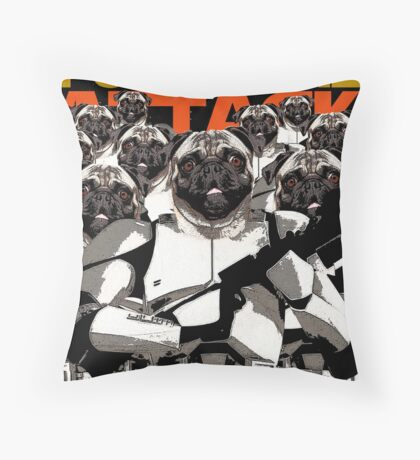 Pug Clone Attack Throw Pillow
