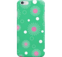 White pink floral pattern on green iPhone Case/Skin