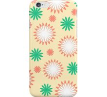 White orange green floral on yellow iPhone Case/Skin