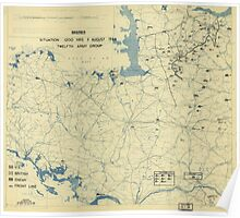 August 9 1944 World War II HQ Twelfth Army Group situation map Poster