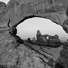 Wide Angle of Turret Arch through the North Window in Black and White  by Gregory Ballos | gregoryballosphoto.com