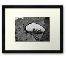 Wide Angle of Turret Arch through the North Window in Black and White  Framed Print