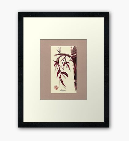 MUSE - Original Zen Ink Wash Sumi-e Asian Bamboo Painting Framed Print