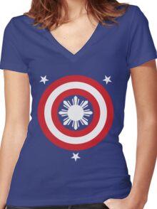 Captain Philippines! (White Sun) Women's Fitted V-Neck T-Shirt