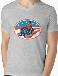 American Gardener Mowing Lawn Mower Retro Mens V-Neck T-Shirt