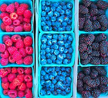 Farm Fresh Berries - Raspberries Blueberries Blackberies by Ram Vasudev