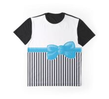 Ribbon, Bow, Stripes (Parallel Lines) - White Black Blue Graphic T-Shirt