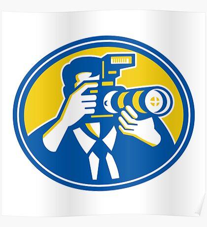Photographer Shooting DSLR Camera Retro Poster