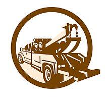 Tow Truck Wrecker Rear Retro by patrimonio