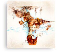 Beautiful vintage girl with ladybird and cruasan Canvas Print