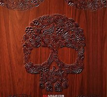Carved sugar skull flower pattern on the wood by Johnny Sunardi