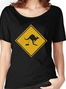 Road sign - warning kangaroo shit Women's Relaxed Fit T-Shirt