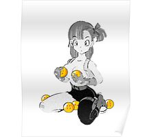 Bulma with dragon balls Poster