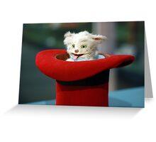 Funny Vintage Magician Kitten Cat in a Hat Photograph Greeting Card