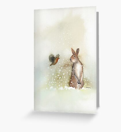 Hare and Robin Greeting Card