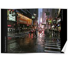 Times Square in Rain Poster
