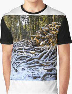 Snow covered woodpiles Graphic T-Shirt
