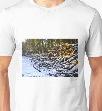 Snow covered woodpiles Unisex T-Shirt