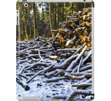 Snow covered woodpiles iPad Case/Skin