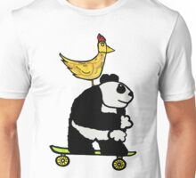 A Chiken on a Panda on a Skateboard are Chilling Unisex T-Shirt