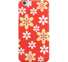 Yellow white floral pattern on orange iPhone Case/Skin