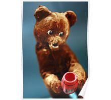 Vintage Doll Brown Bear with a Honey Pot Poster