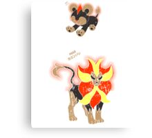 Litleo and Pyroar Distressed  Canvas Print
