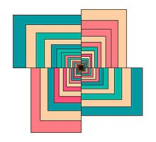 Abstract colorful Retro geometric hexagon pattern  Photographic Print