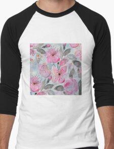 Cute watercolor hand paint flowers design Men's Baseball ¾ T-Shirt