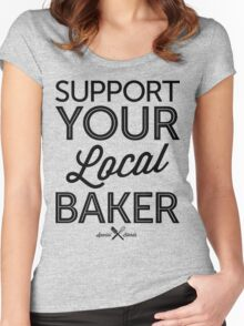Support Your Local Baker (Black Print) Women's Fitted Scoop T-Shirt