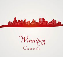 Winnipeg skyline in red by Pablo Romero
