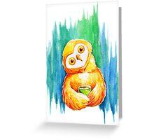 Drawing cute owl Greeting Card