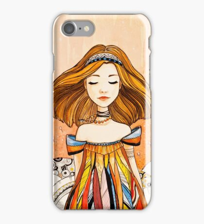Girl in feather dress iPhone Case/Skin