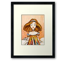 Girl in feather dress Framed Print