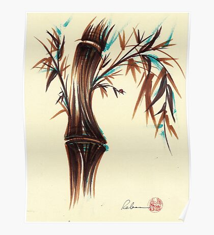 REFLECT -  Sumi-e ink brush pen Zen bamboo painting Poster