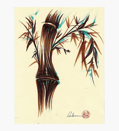 REFLECT -  Sumi-e ink brush pen Zen bamboo painting Photographic Print
