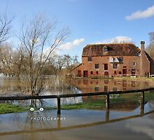 """ Floodwaters At The Old Mill "" by Richard Couchman"