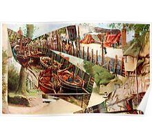 Landscape with Boats. Poster