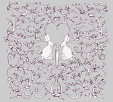 Grey Rabbits Filigree Leaves by Donna Huntriss