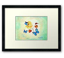 Morph Butterflies on Yellow Rose Framed Print